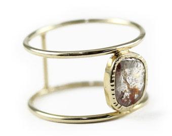 Free Shipping, Diamond Slice, Duble Ring, Gold Ring, Rose Cut Diamond, 14K Gold Ring, Diamond Ring.