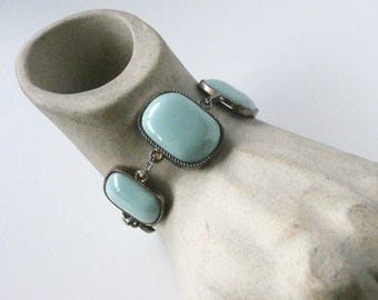Chunky Bracelet - Blue Beads - Upcycled - Vintage Bead Bracelet