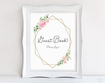 Wedding Guest Book Sign, Printable Wedding Reception Sign, 8x10, Geometric Blush Pink Floral VW20