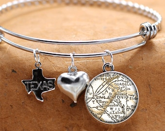 Map Charm Bracelet San Antonio Texas State Of TX Bangle Cuff Bracelet Vintage Map Jewelry Stainless Steel Bracelet Gifts For Her