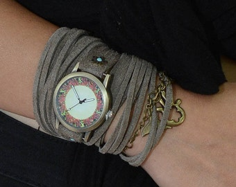 Wrap Watch, Leather Wrap Watch, Leather Wrap Around Watch, Gray Watch, Quartz Watch, Watches For Women, Gifts For Her, Christmas Presents