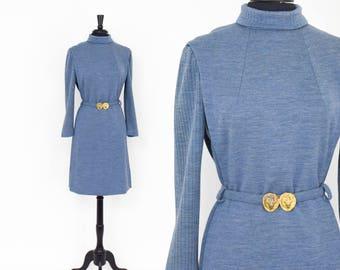 50s Blue Knit Dress | Blue Grey Wool Dress | Donle |  Small