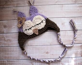 Crochet Baby Hat, Baby Girl Owl Hat, Baby Girl Hat, Crochet Owl Hat, Newborn Owl Hat, Infant Owl Hat, Baby Animal Hat, Purple, Sleepy Owl