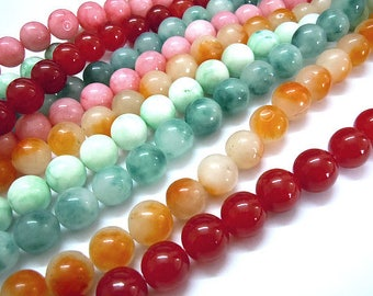 Lot of about 40 colors 8 mm natural jade beads