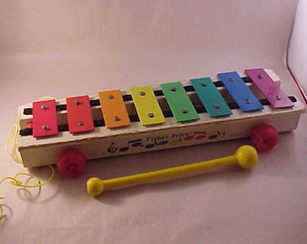 Fisher Price #870 Xylophone Musical Pull Toy with Plastic Mallet