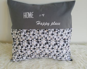 Pillow cover - grey + beige, gray - white geometric print 40 x 40 cm - sand inscription