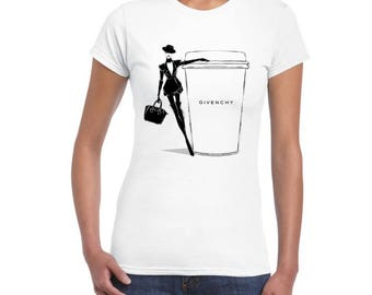Fashion & Coffe Artistic Design Printed on Ladies Junior Fit T-Shirt