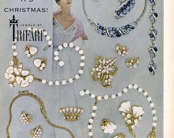 1953 Trifari Jewels Advertisement Ballgown Fashion Jewelry Decor Glitz Glamour Gemstone Jeweler Gift Christmas Decoration Blue Gems Wall Art