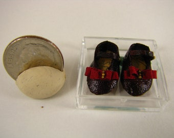 Miniature Leather Mary Janes-Miniature Cranberry Shoes-Miniature Leather Shoes-Little Mary Janes