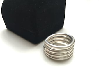 """Sterling Silver Wrap Ring - .5"""" Thick 925 Sterling Silver Wrap Around Band"""