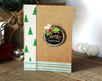 Handmade Christmas Card, Happy Holidays, Rustic Country, Brown Craft Paper, Unique, One of a Kind. Blank Inside. Free US Shipping
