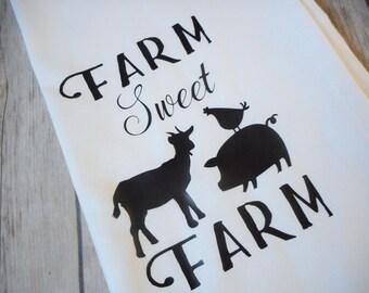 "Farm Sweet Farm Decorative Tea Towels, Farmhouse Kitchen Decor, Farm Animal Dish Towel, Flour Sack Dish Towels, Farm Kitchen Towel, 28""x28"""