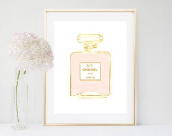 Chanel, Coco Chanel Print, Chanel Perfume, Printable Art, Coco Chanel, Fashion Print, Digital Download, Gold Wall Art, Girly Print