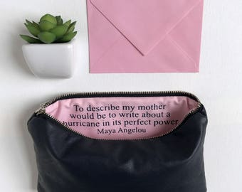 Gift for Mom. Mothers Day Gift for Mom. Makeup Clutch Bag Inspirational Message. Maya Angelou. Secret Message Bag