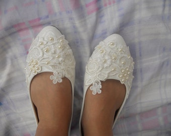 Custom Women Wedding Shoes White/ Ivory  Lace Pearls Bridesmaids  Shoes  Lace Party Shoes Free Shipping  To  USA