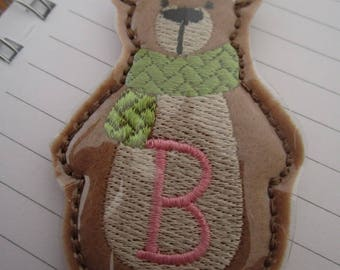 In the Hoop Bear keyfob keyring machine embroidery  (5x7) Instant digital download