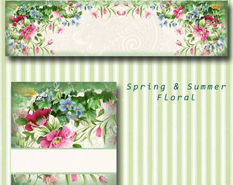 Spring Summer Floral Cover banner and Shop Icon, Flowers, green, pinks, blank files, instant download