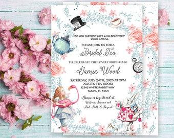 Alice in Wonderland Bridal Tea Invitation- Alice in Wonderland Invitation- Alice in Wonderland Bridal Shower- Bridal Tea Party- Printable