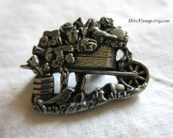 Vintage Flower Wagon Pin, Silver Tone Pin, Hat Pin, Flower Brooch, Gardening Pin, Gardener Pin, Birds and Blooms