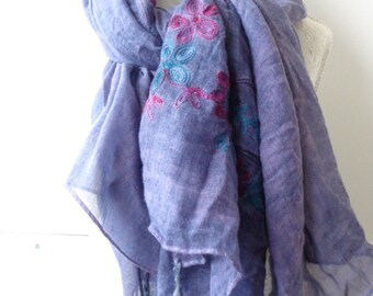 large cotton scarf blue purple cotton scarf, viscose scarf, summer scarf chicbychicScarves.