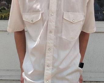 90s men's white Wrangler Western button up