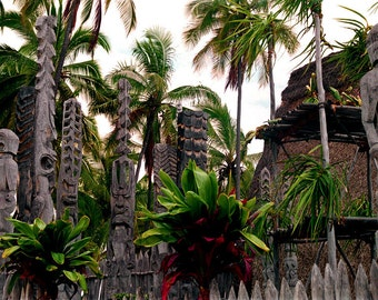 Fine Art Photography - The Place of Refuge Big Island Hawaii - Pu'uhonua O Honaunau Sacred Hawaiian Site - Ancient Hawaiian Ceremonial