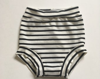 Thin Black Stripe High Waisted Bloomers, shorties, diaper cover