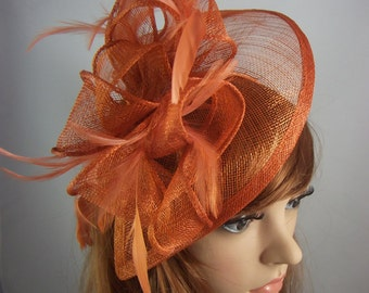 Rusty Orange Teardrop Sinamay Fascinator with Feathers - Wedding Races Special Occasion Hat
