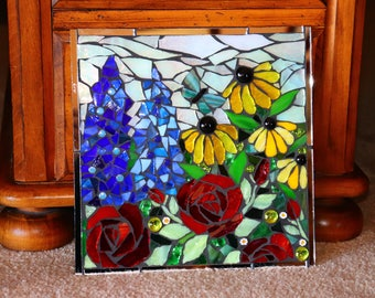 "Stained Glass Flowers Mosaic on Mirror, 10""x10"""