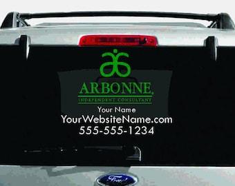 SALE- Arbonne Dual-Color Logo Car Decal with Custom Name, Website, etc.