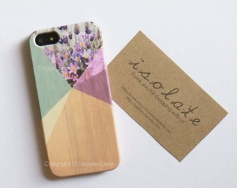 iPhone 6 - Floral Geometric on wood iPhone 5s Wood lavender colour print iPhone 6 case wood geometric iPhone 5 floral iPhone case