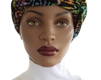 African Inspired Head Wrap Hat Scarf Satin Lined  Tie Dye Print Natural Hair Wrap Turban Handmade
