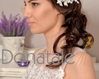 Rustic Bridal Headpiece Wedding hair piece Wedding Headpiece Gold Silver Ivory Bridal Hair Comb Lace Headpiece Wedding Hair Flower-CLAUDINE