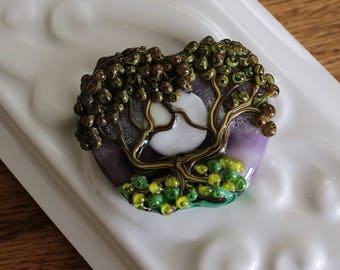 Tree and Moon Lampwork Glass Focal Bead. 46x36mm. Heart Shaped Tree of Life Pendant Focal. Handmade Lampwork Bead For Jewelry Making. #591