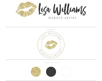 Makeup Artist Logo Lipsense Logo Senegence Logo Lip Logo Gold Logo Gold Glitter Logo Makeup Logo Beauty Blog Logo Lips Logo Watermark