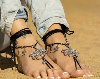 Barefoot sandals Foot jewelry barefoot sandal Beach wedding shoes Bottomless sandals Soleless sandals Bare foot sandals Footless sandles