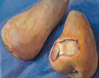 Original Painting // Still Life of Pears // Acrylic Art // Green, White and Blue 10 cm x 10cm