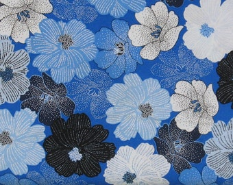 Blue, White and Black Floral on Blue 100% Cotton Quilt Fabric, Packed Shimmer Flower by Greta Lynn for Kanvas Studio, KAS8811P-54