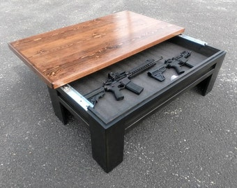 Hidden Gun Storage Sliding Top Coffee Table