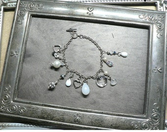Romantic White Silver Pearls and Crystals Charm Bracelet