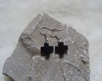 cross onyx gemstone dangle charm earrings