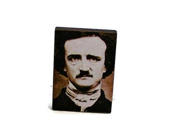 Edgar Allan Poe Pin, Unique Brooches, Edgar Allan Poe Jewelry, Pins for Jackets, Wooden Brooch, Cool Pins, Unusual Gifts, Pins for Backpacks