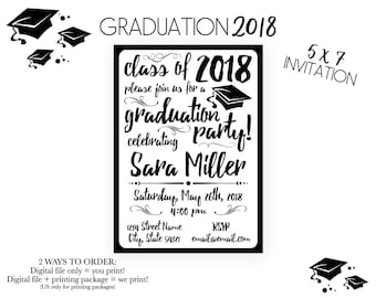 Graduation Party Invitation - Class of 2018 - Graduation Party - Swirls and Grad Cap - High School College Grad - Black White - Printable
