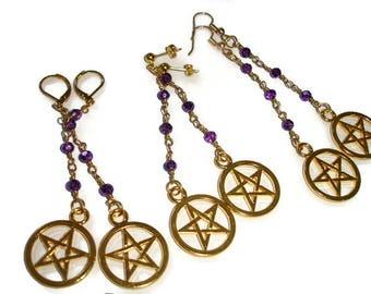 Fancy Pentacle Earrings Fancy Pentagram Earrings Purple Pentagram Purple Gold Pentagram Purple Gold Pentacle Pagan earrings Samhain earring