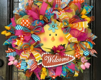 Happy Baby Chick Welcome Wreath.