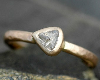 Transparent Rough Diamond in 14k or 18k  Recycled Gold Ring- Custom Engagement Ring Rough Uncut Stone