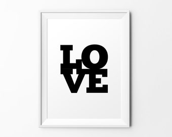 LOVE - quote print black white typography inspirational print typography poster motivational print wall decal art