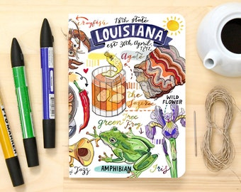 Louisiana Notebook, state symbols, blank journal, New orleans, notes, personalized stationery