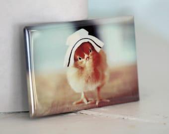 Chick Wearing A Nurse Cap Rectangle Nursing Hat Chicken Magnet
