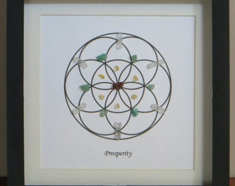 Prosperity Crystal Grid, Quartz, Tiger Eye, Citrine, Aventurine